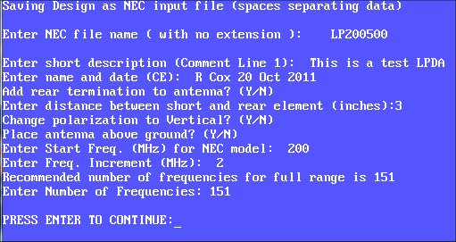 Save in NEC format